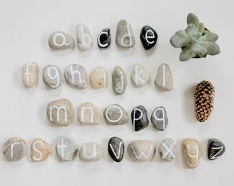 alphabet stones, reggio-emilia loose parts, reggio-emilia classroom, reggio learning materials, waldorf alphabet, waldorf homeschool, abc