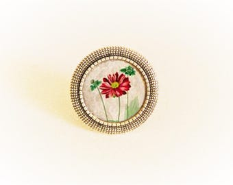 Ring silver cabochon flowers tones can red green and beige