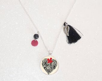 Black/Red/beige tassel necklace long silver plated cabochon heart zebra pattern beads