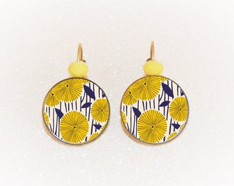 Earrings sleepers bronze cabochon vintage Navy and yellow dandelions