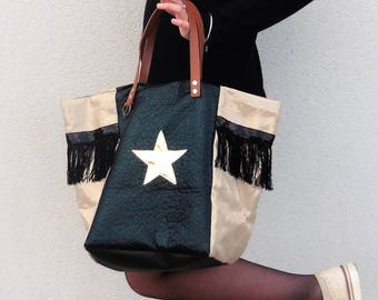 flax lame gold metallic with black fringe, black leather Star Gold, camel leather handles