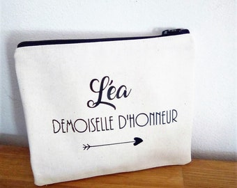 case/pouch bag - message MOH name - wedding - personalized gift
