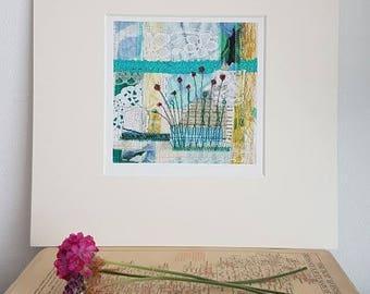 Art Print   Floral Wall Art | Mixed Media Textiles | Birthday Gift | Affordable  Wall
