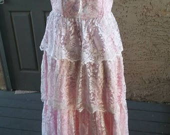 Gorgeous pink satin, white lace tiered dress, 1950s vintage dress, party dress, pinup