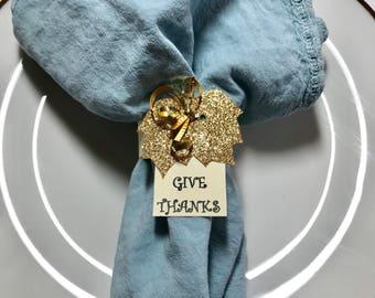 Thanksgiving Napkin Rings – Set of 20 Gold Paper Napkin Rings for Thanksgiving or Fall Table Decor
