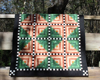 "Rustic Green, Brown, Black & White Batik Lap Quilt/Wall Hanging 48"" x 48 ""Walk In The Woods"""