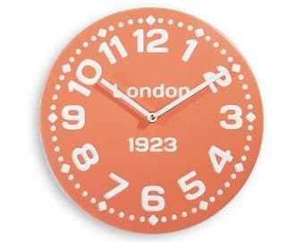 Wood wall clock. Modern clock. Personalized clock. Coral clock. 11 inch diameter wood wall clock. CL4020