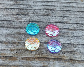 10mm Mixed Mermaid Scale Resin Cabochons