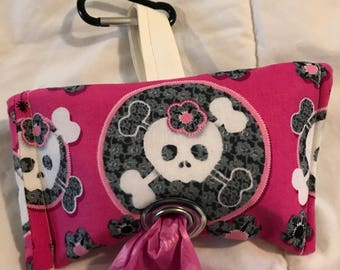 Cross bones pink dog waste bag holder