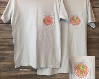 Big Little Sorority Shirt, Big Little Shirt, Comfort Colors, pocket tshirt, lilly pulitzer, Monogram Pocket, Monogram Shirt, Big Little