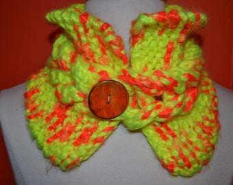 """""""TWIST"""" orange and yellow scarf neck hand knitted"""
