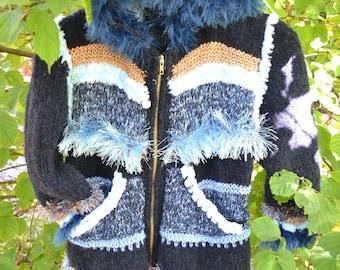 KNIT blue LISA coat size 6/8 years