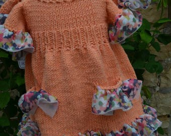 tulle lined hand knitted cotton baby dress
