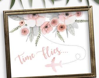 Time Flies, Bridal Shower Sign, Destination Wedding, Wedding Signs, Bridal Shower,  Beach Weddings, Floral, Wedding Sign Ideas