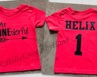 First Birthday Shirt, Mr. ONEderful Birthday Shirt, Name and age on back - Many color options!!