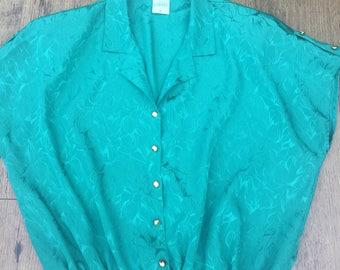 Emerald green vintage button through blouse