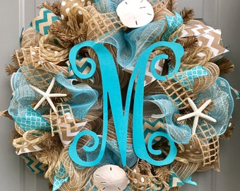 Beach Burlap Deco Mesh Wreath with Monogram, Seashell Wreath, Sea Shell Wreath, Beach Wreath, Starfish Wreath