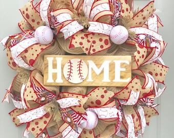 Baseball Wreath, Baseball Home, Home Plate, If We Don't Answer We're At The Ballfield Baseball Burlap Wreath, Sports Wreath