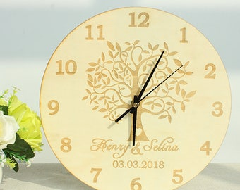 """Personalized Carved Wooden Family Tree Clock,Custom Couple Name And Wedding Date Clock For Wall.Housewarming,Family,Anniversary Gift 12"""""""
