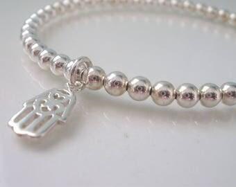 Silver Stretch Bracelet, Hamsa Hand Bracelet, Sterling Silver Bead Bracelet, Hamsa Charm Bracelet, Stacking Bracelet, friend gift, handmade