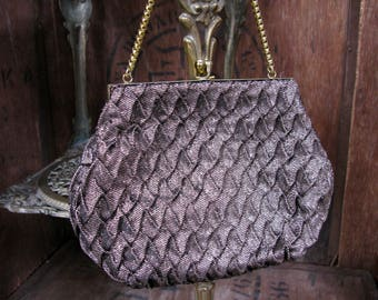 Bronze Evening Bag, Bronze Purse, Evening Purse, 1960s Purse, 1960s Bag, Vintage Handbag, Small Purse, Evening Bag, Chain Handle Bag