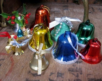 Christmas Bells, Vintage Decorations, Vintage Christmas, Decoration Bundle, Vintage Xmas, 1970s Christmas, Bell Decoration, Bell Baubles