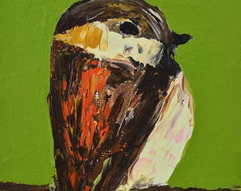Brown Sparrow Bird Painting - Mini Acrylic Animal Portrait - Wildlife Songbird - Bird Lover's Decor - Green Wall Art - 92