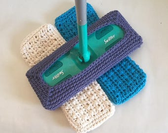 Crochet Swiffer Covers Reusable Swiffer Pads  Off White Set of 3 Made to Order
