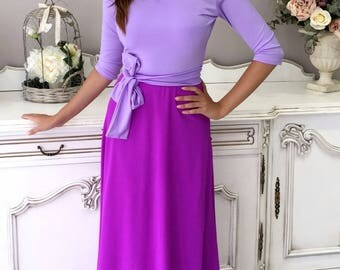 Lilac- Light Purple Maxi Women's Dress Round Neck V  Back 3/4 Sleeves