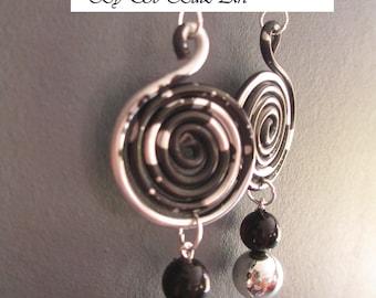 """Dark"" black and silver aluminum earrings"