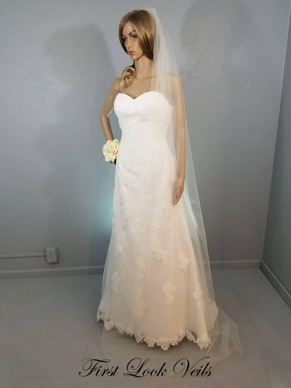White Wedding Veil, Bridal Chapel Veil, One Layer Plain Viel, Wedding Vail, Bridal Attire, Bridal Accessoy, Bridal Accessories, Women, Gift