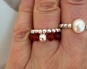 CARNELIAN RING Sterling Silver stretch ring red gemstone ring stacking orange beaded ring July Birthstone jewelry 2nd Chakra Healing gift