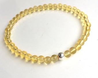 CITRINE Bracelet Sterling Silver beaded stretch bracelet tiny 4mm yellow gemstone Bead Bracelet November Birthstone jewelry jewellery Gift