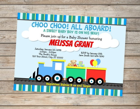 Choo choo train baby shower invitation all aboard train invitations il570xn filmwisefo