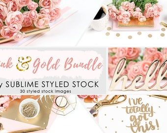 Styled Stock Photography /  Stock Bundle / 30 Styled Images / Stock Photos / Instagram / Social Media Images / Branding / Pink and Gold