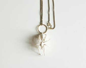 white spider pendant,fiberart, soft sculpture,