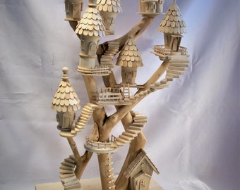 Treehouse Village Wood Art Piece