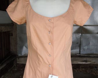 Vintage 1950's Cotton Blouse * Peachy Tan W/Rhinestones * XS-S * Unworn with Tag