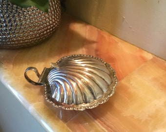 Silver Plated Seashell Caviar Dish, Vintage Clam Shell Dish With Glass Insert