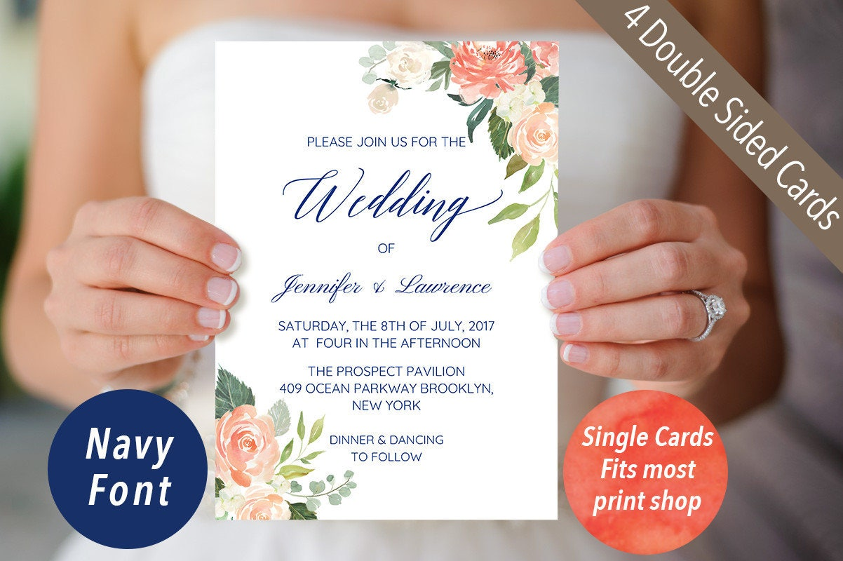 Set of 4 Printable Double sided Navy Blue Wedding Invitation Cards ...