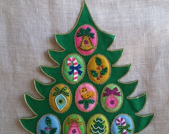 Felt and Sequin Christmas Tree Vintage Handmade Felt and Sequin Christmas Decor Christmas Tree Wall Hanging