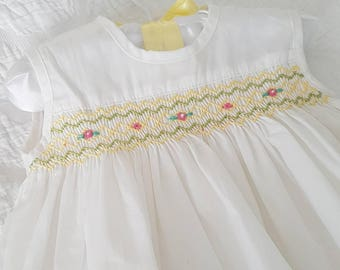 Beautiful white hand smocked and embroidered baby dress - 0-3 months