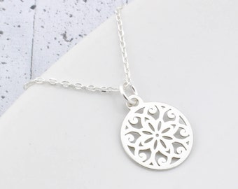Sterling Silver Mandala Necklace, Necklace Mandala, Mandala Pendant Mandala Silver, Silver Necklace, Necklace Rosette, Rosette pendant,