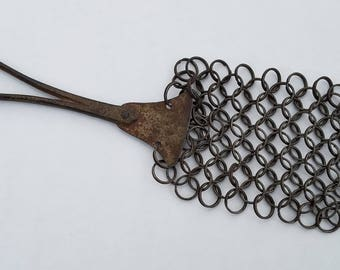 Antique Chain Mail Pot Scrubber with Handle