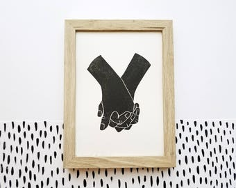 Minimal Art Print  / 5 x 7 / Anniversary / Holding Hands / Neutral / Linocut / Original Art / Romantic / Gifts for Girlfriend / Hand Printed