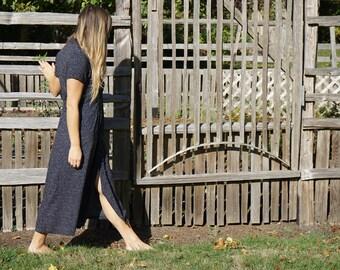 Short Sleeve Tiny Polka Dot Long Dress / Black & White Lightweight Market Dress Womens xs / s