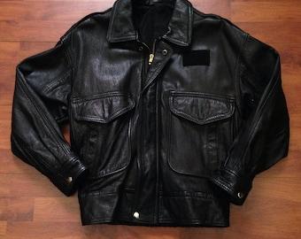 80's Black Leather Flight Jacket - Commercial Pilot - Fits Like Medium Size 40 - Talon Zipper