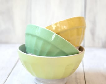 3 Vintage French Cafe au Lait Bowls - Digoin - Pastel Yellow and Green - Shabby and Country Kitchen - Free Shipping With the USA