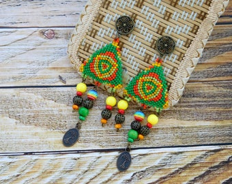 Geometric Earrings, beaded triangle earrings, gift for her, beadwork earrings
