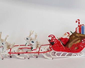 Vintage Plastic Santa Sleigh with Reindeer, Santa and Reindeer, Plastic Santa, Vintage Christmas Decoration, Retro Christmas Decor